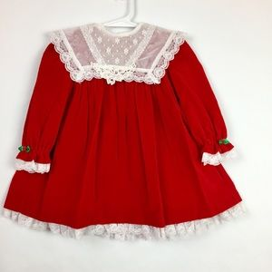 Vintage Velvet and Lace Red Holiday Dress Size 2T